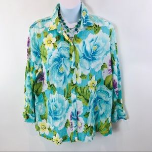Jones New York Shirt Button Down Blue Floral Sz 3X